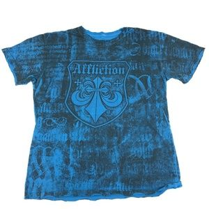 Affliction Live Fast Blue Black Cross Gothic Tee
